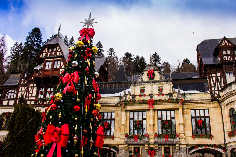Christmas at Peles Castle, Sinaia, Romania. Peles Castle is a Neo-Renaissance castle in the Carpathian Mountains, near Sinaia, in Prahova County, Romania, on an royalty free stock photography