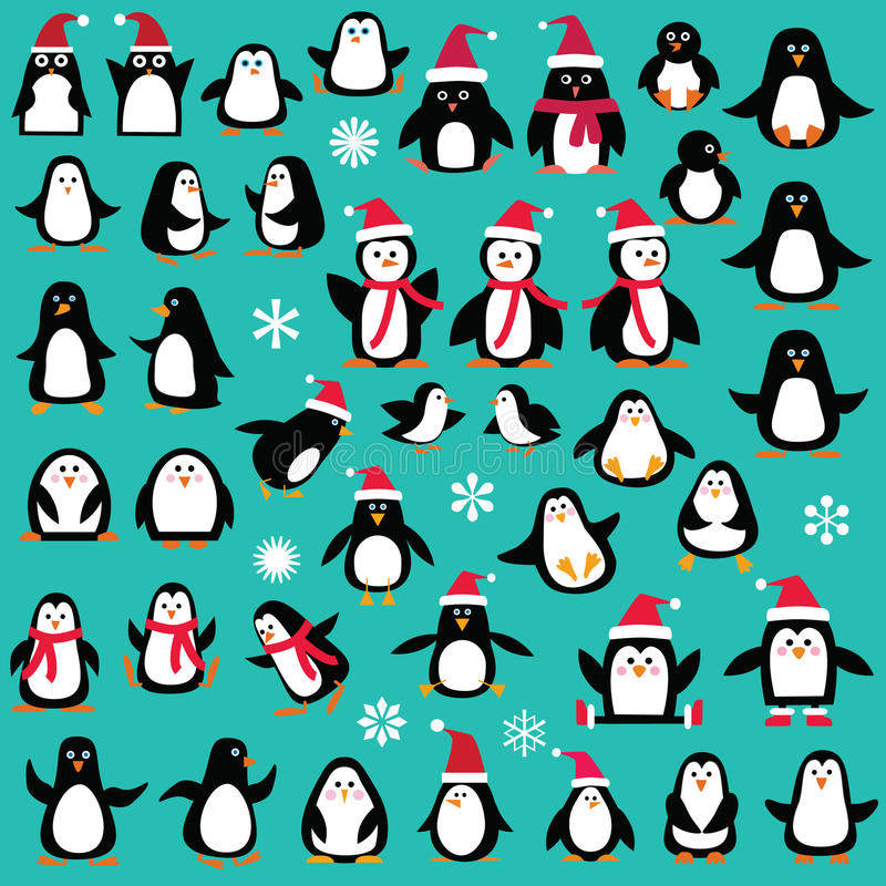 Christmas Penguin Clipart. Cute whimsical Christmas Penguin Clipart vector illustration