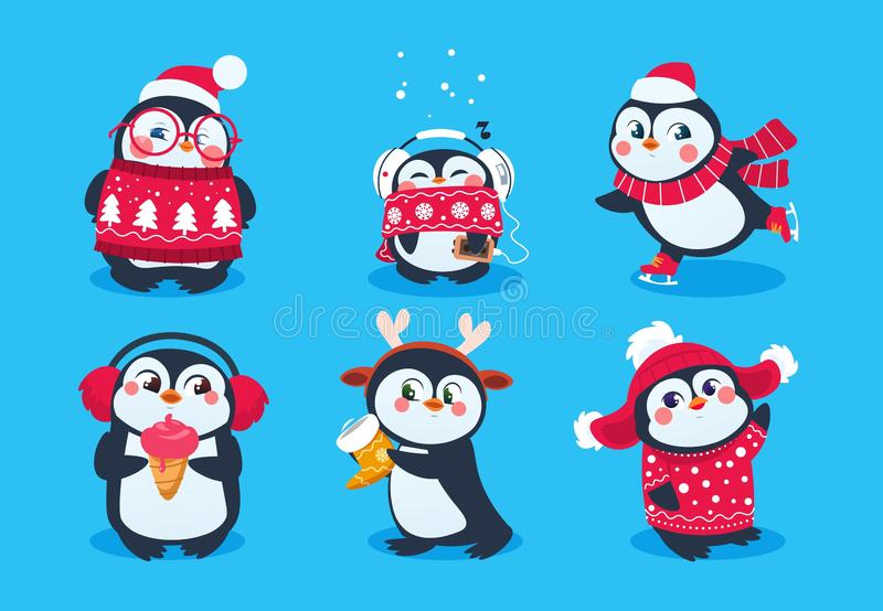 Christmas penguin. Funny snow animals, cute baby penguins cartoon characters in winter hat. Isolated vector set royalty free illustration