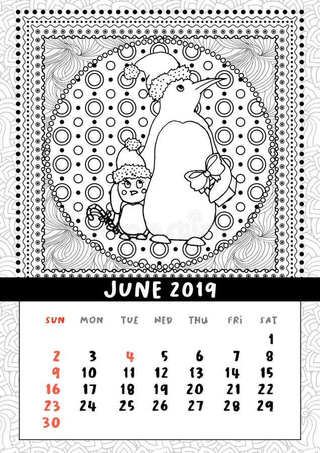 Christmas penguin with gift, calendar June 2019. Northern Mom bird with baby wish Merry Christmas and Happy New Year. Black and white mono linear coloring book vector illustration
