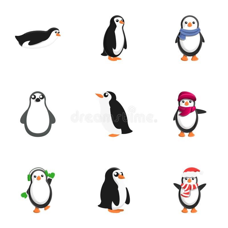 Christmas penguin icon set, cartoon style stock illustration