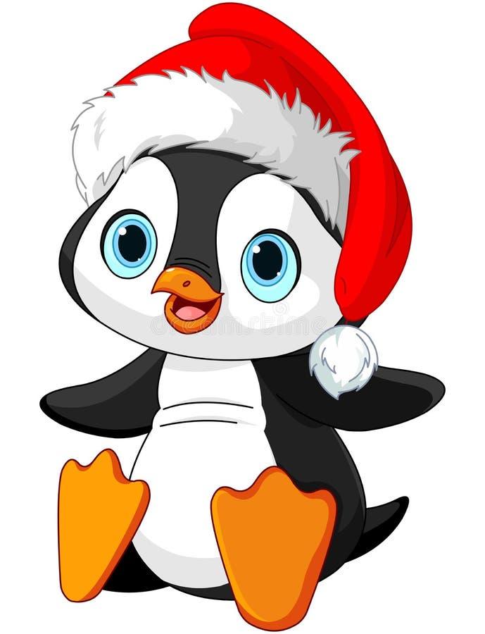 Cartoon christmas girl penguin