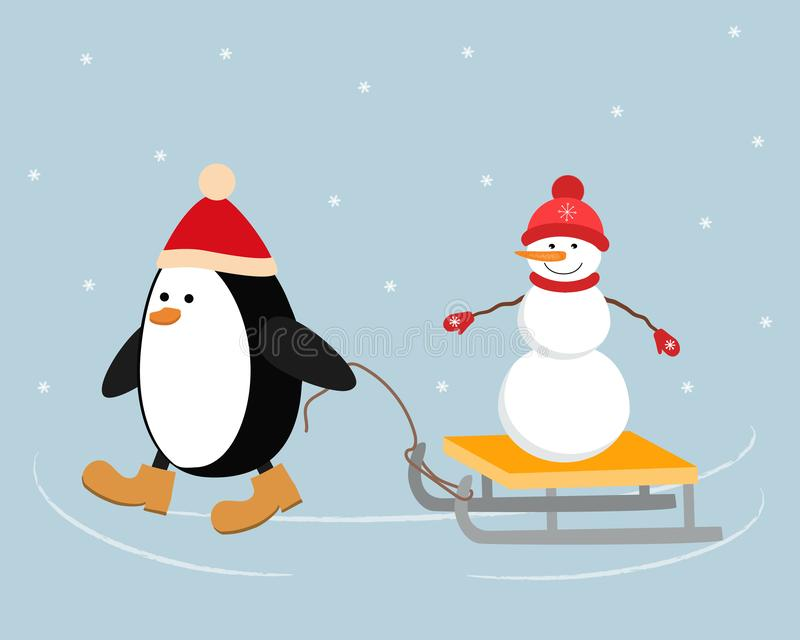 Christmas penguin in a red hat carries a snowman on a sleigh vector illustration