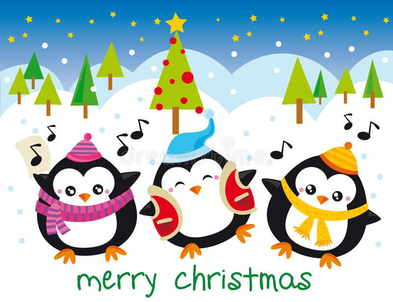 Christmas penguins stock illustration
