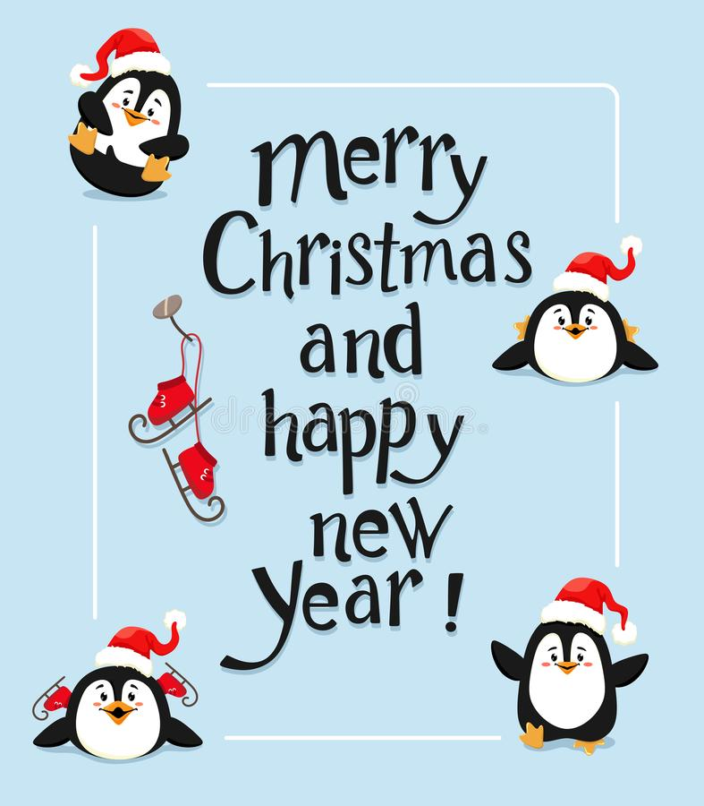 Christmas and New Year card with lettering and cute penguins on a blue background. Vector illustration vector illustration