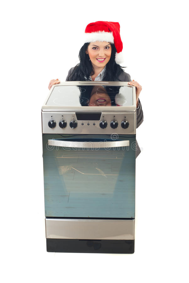 Christmas peomotion at stove stock photography