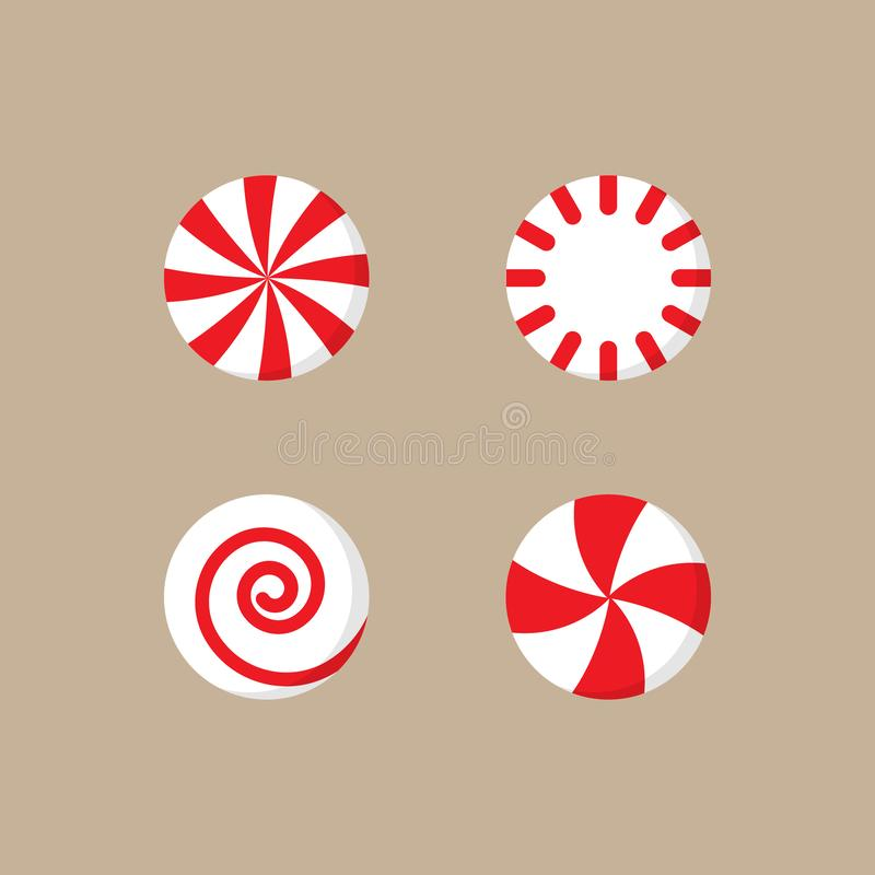 Free Christmas Peppermint Candy Vector Illustration Set Stock Photography - 133505372