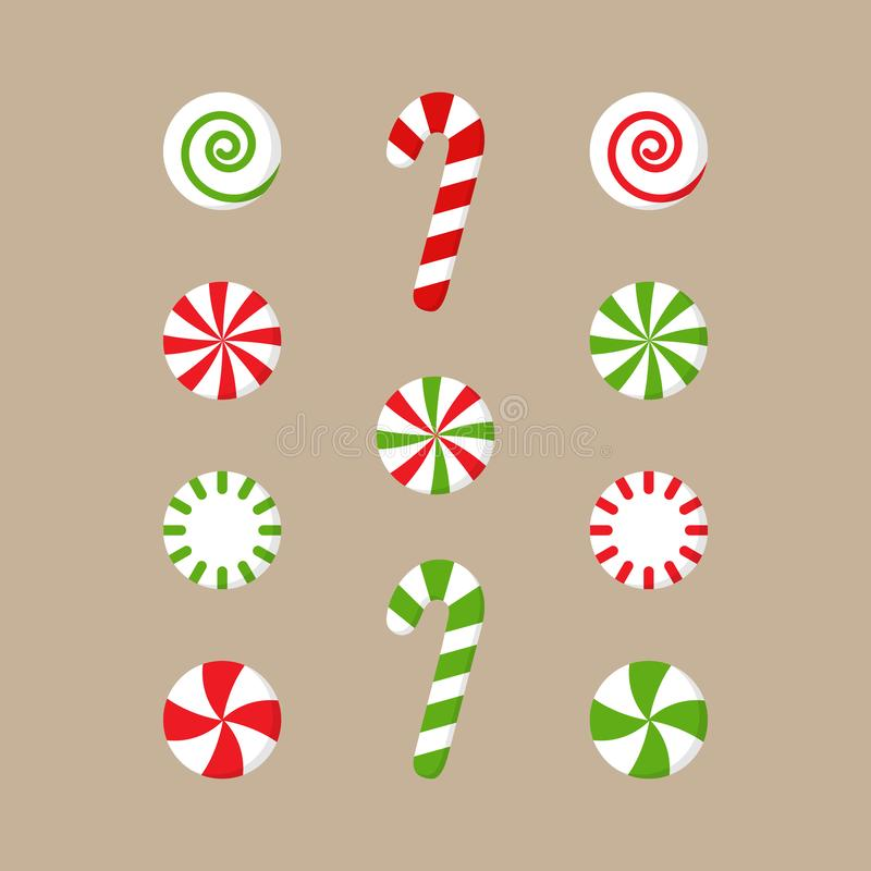 Free Christmas Peppermint Candy Vector Illustration Set Royalty Free Stock Photography - 133505577