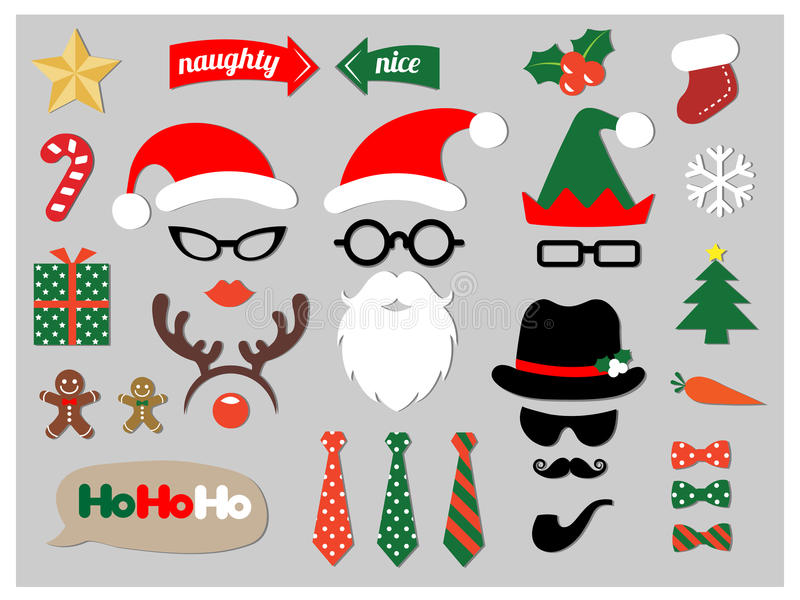 Christmas photo booth props stock illustration