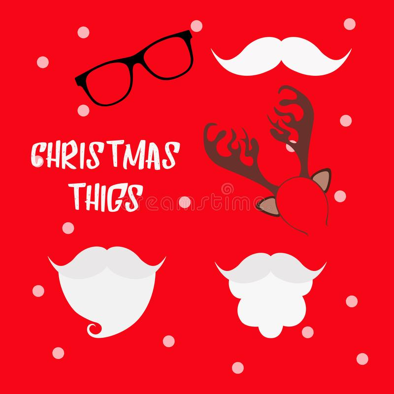 Christmas photo booth props set with Santa hat and beard, reindeer antlers, mustache and glasses. Party decoration. Christmas hats. Props. Hipster style stock illustration