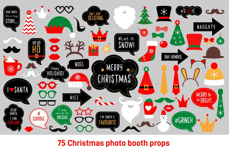 Christmas photo booth props vector set photobooth. Christmas photo booth props. Merry christmas party . Red and green cards and speech bubble with funny quotes stock illustration