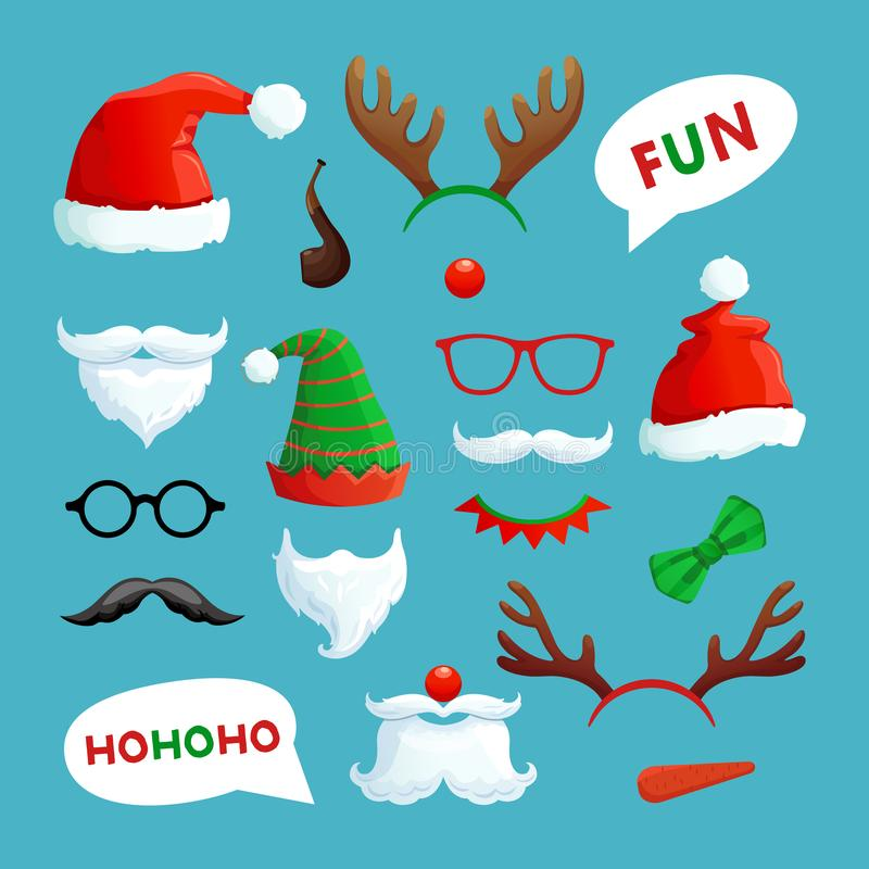 Christmas photo booth. Santa hats, mustache, beard and reindeer antlers xmas props vector collection. Santa hat and xmas booth reindeer antlers and mustache stock illustration