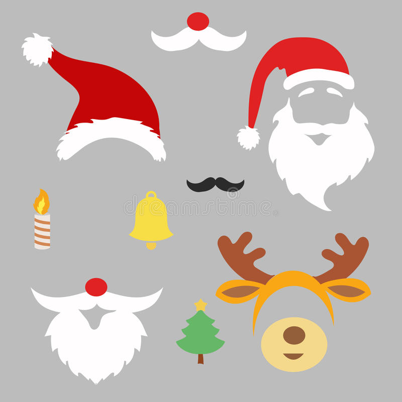 Christmas photo booth and scrapbooking vector set royalty free illustration