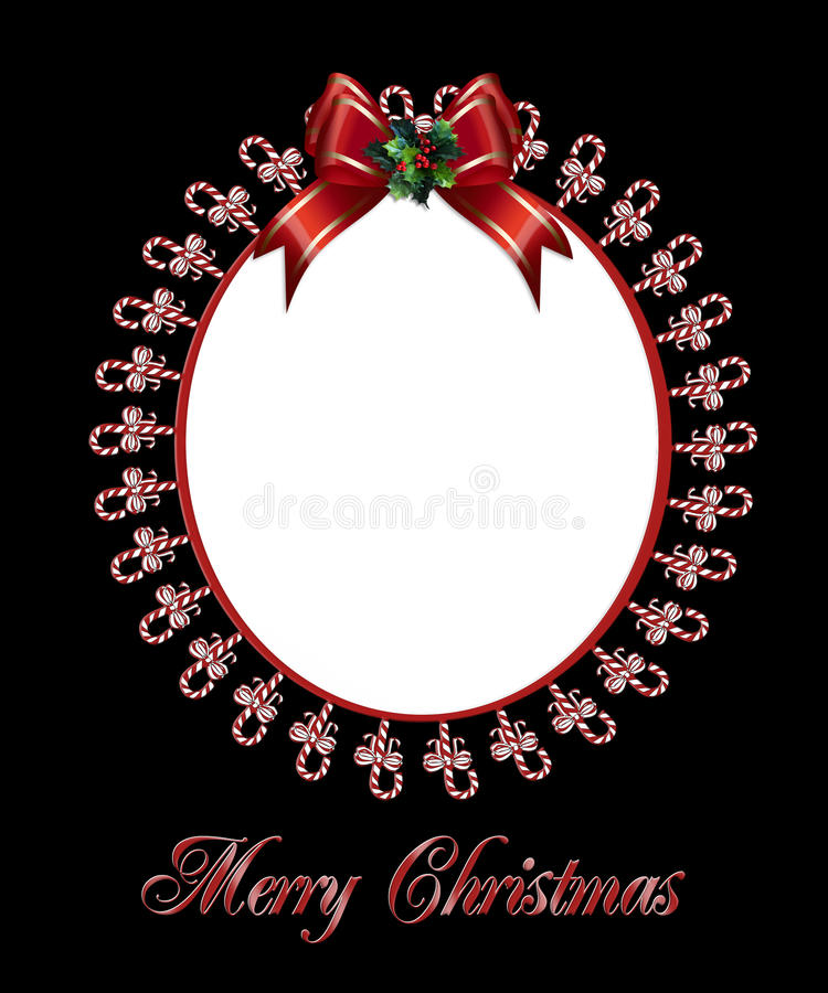 Christmas photo frame candy canes royalty free illustration
