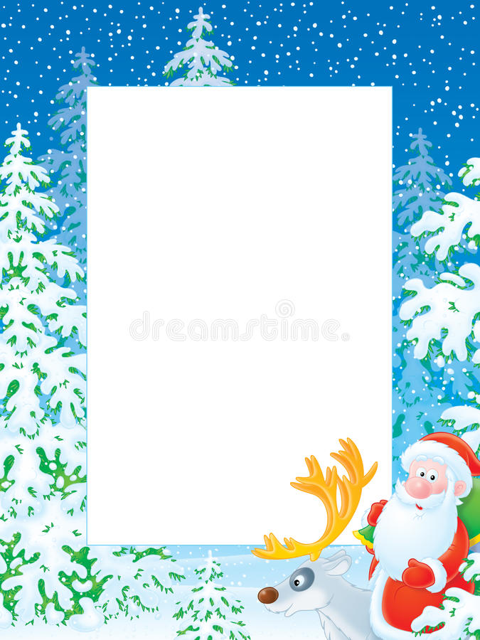 Christmas Photo Frame With Santa Claus Riding On R Stock Images