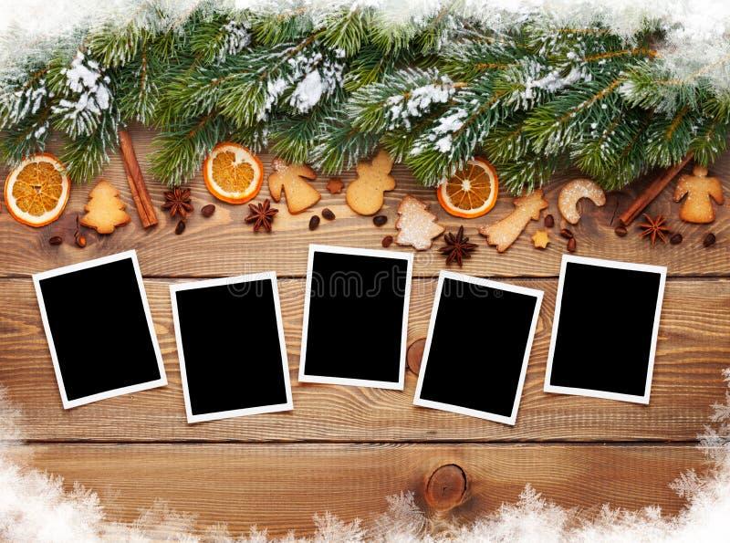 Christmas photo frames, tree, cookies stock photos