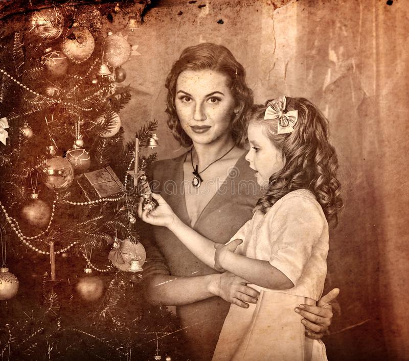 Christmas family photo with mother father girl. Black and white royalty free stock photography