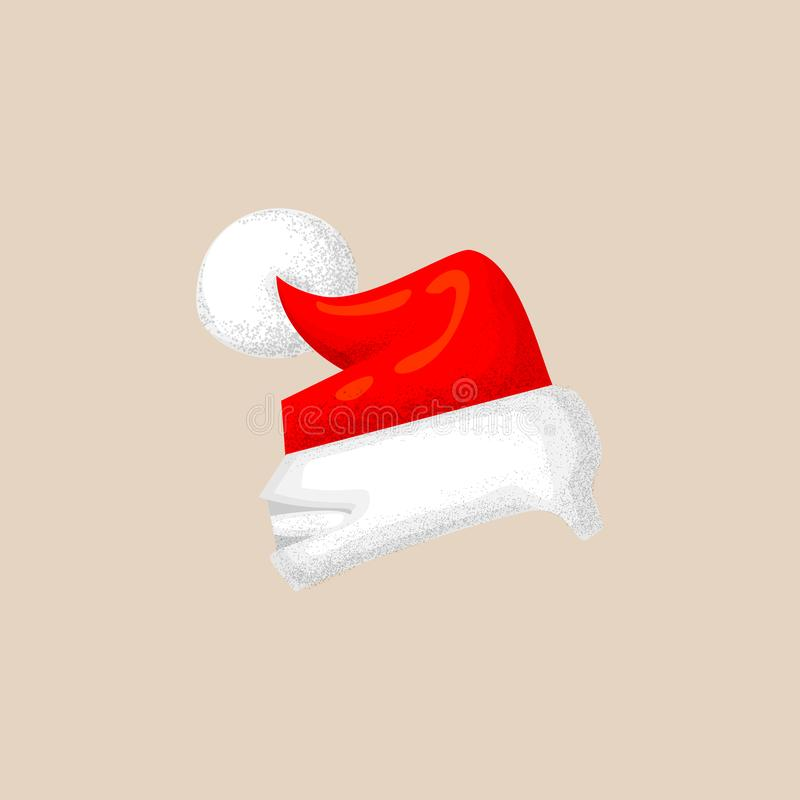 Christmas photo prop booth mask collection. Cute santa hat icon with texture, red hat and white pompom. photo booth vector illustration