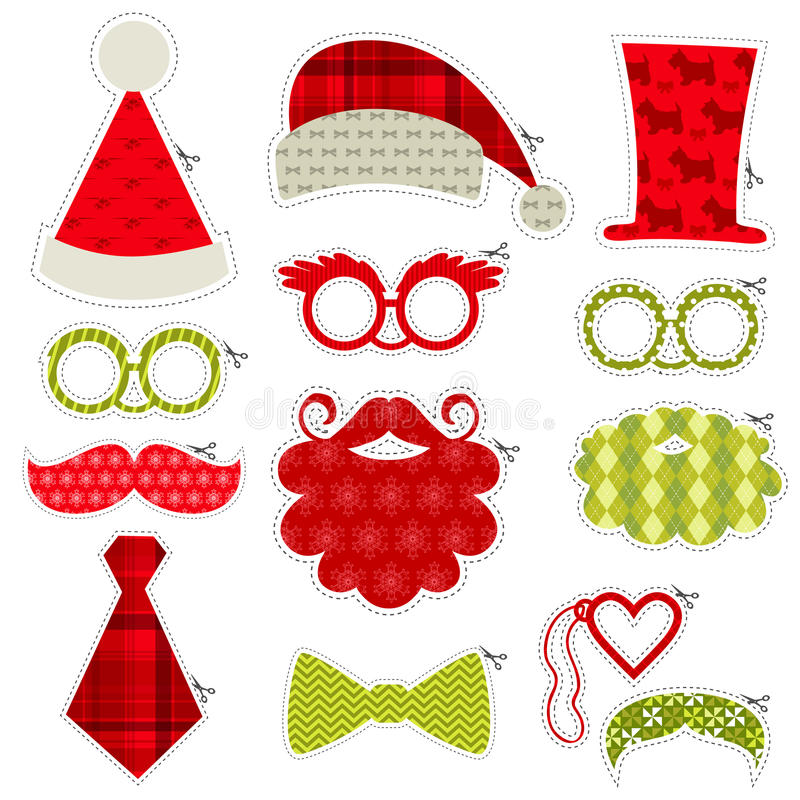 Christmas Photobooth Party set. Glasses, hats, lips, mustaches, masks - in