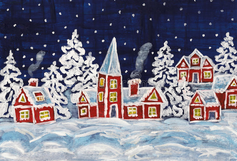 Christmas picture. Hand painted Christmas picture with red houses vector illustration