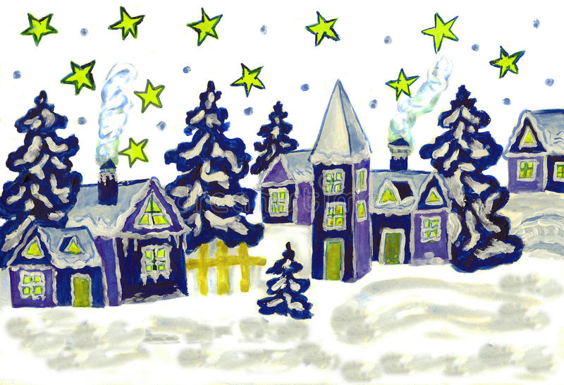Christmas picture. Hand painted Christmas picture in blue and white colours royalty free illustration