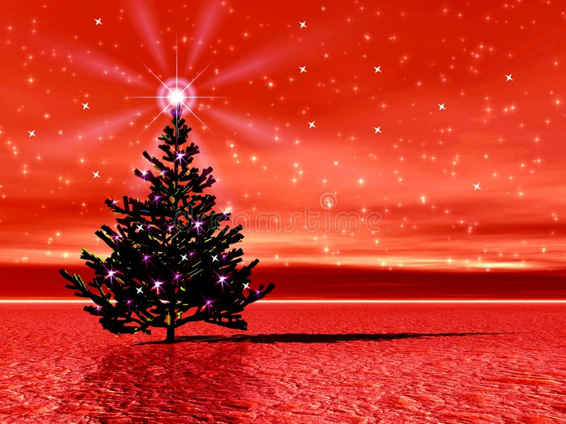 Christmas picture with Christmas tree stock image