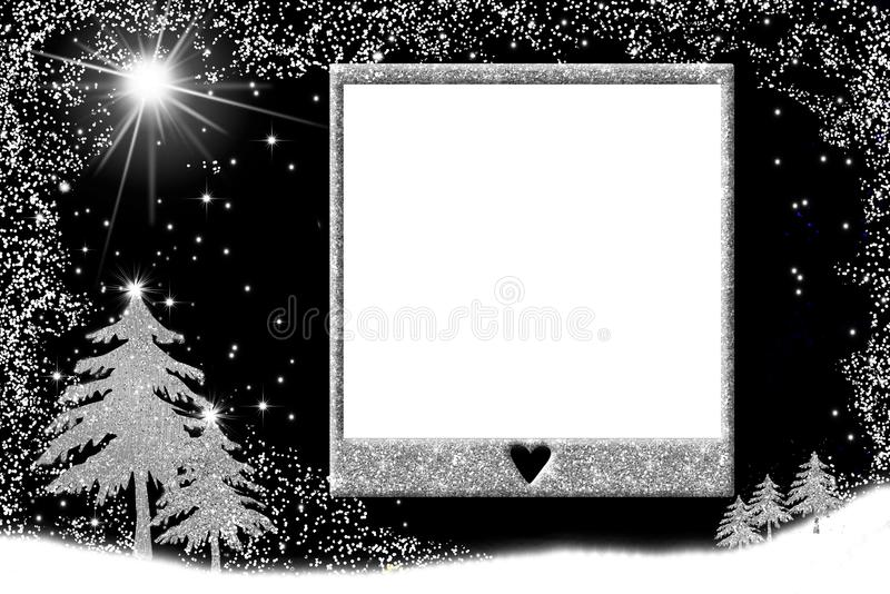 Christmas picture frame cards. Empty picture frame and Nativity landscape silver tone on black background royalty free illustration