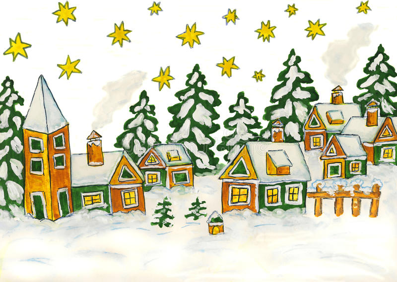Christmas picture in green and yellow colours. Hand drawn Christmas picture with houses in green and yellow colours, gouache vector illustration