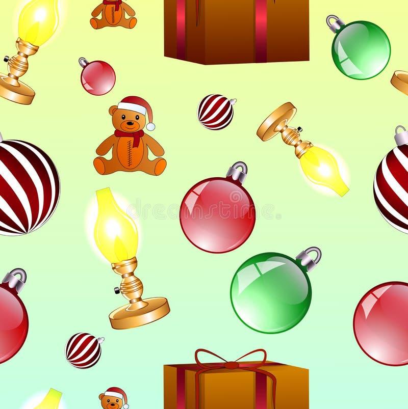 Christmas picture. Mistletoe. Seamless pattern. Christmas picture. Mistletoe, Christmas ball, candy. Seamless pattern.Vector illustration.Colorful christmas vector illustration