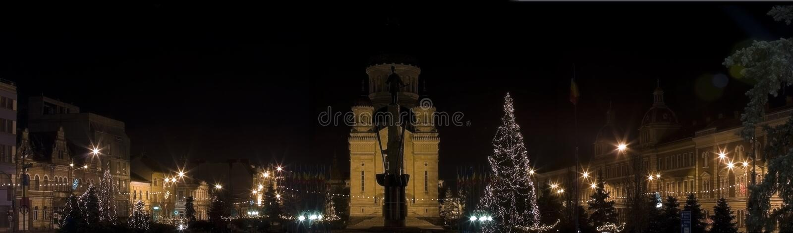 Christmas picture, panorama town by night stock images