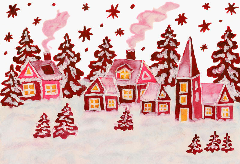 Christmas picture in raspberry pink colours stock illustration