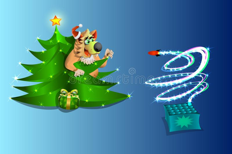 New year , the dog is watching the fireworks from under the Christmas tree , on blue background , illustration and vektr. royalty free stock photo