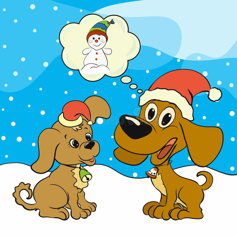 Christmas picture with two happy puppies.  stock illustration