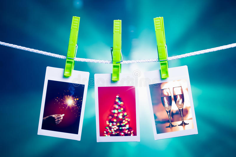 Christmas pictures on blue lights background stock image