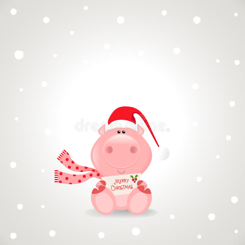 Christmas Pig royalty free illustration