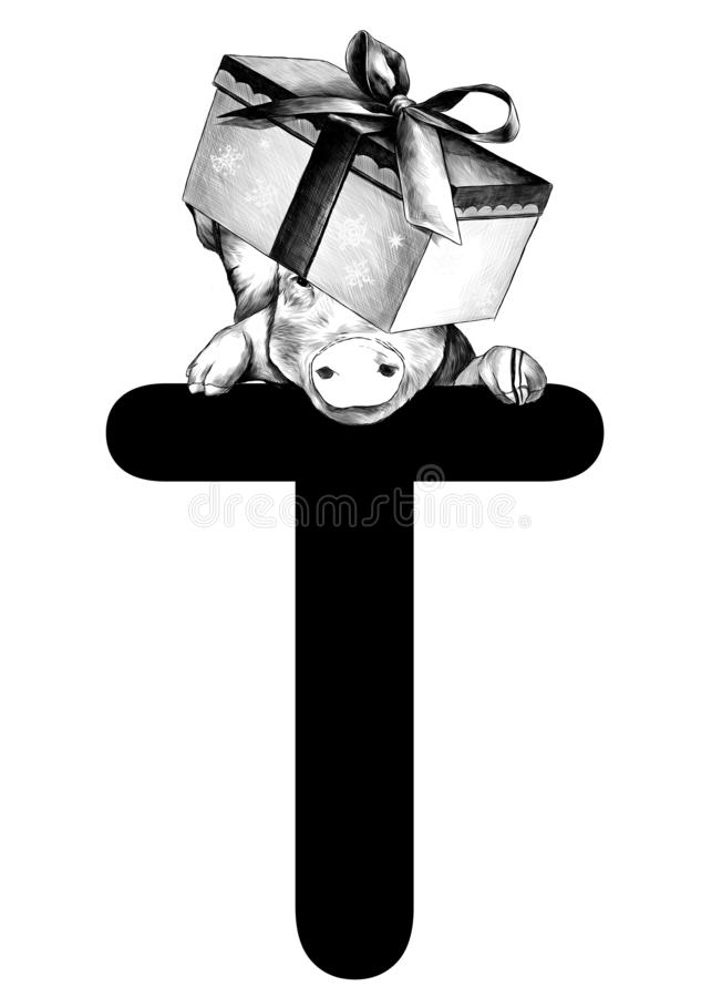 Christmas pig with festive box with bow on his head hanging on top of the letter T part of the word Christmas. Christmas pig with a festive box with a bow on his royalty free illustration