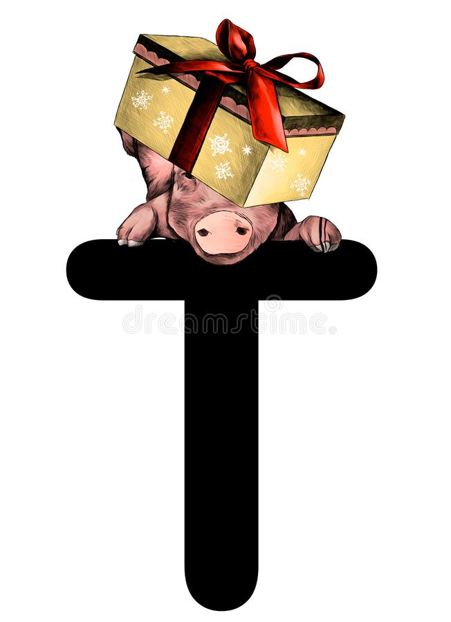 Christmas pig with festive box with bow on his head hanging on top of the letter T part of the word Christmas. Sketch vector graphics color illustration on stock illustration