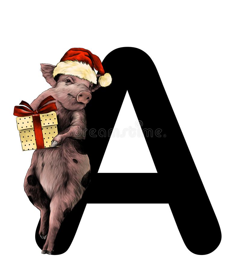 Christmas pig in a hat and with a gift box stands leaning on the letter A part of the word Christmas. Sketch vector graphics color illustration on white royalty free illustration