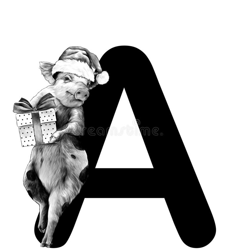 Christmas pig in a hat and with a gift box stands leaning on the letter A part of the word Christmas. Christmas pig in a hat and with a gift box is leaning on vector illustration