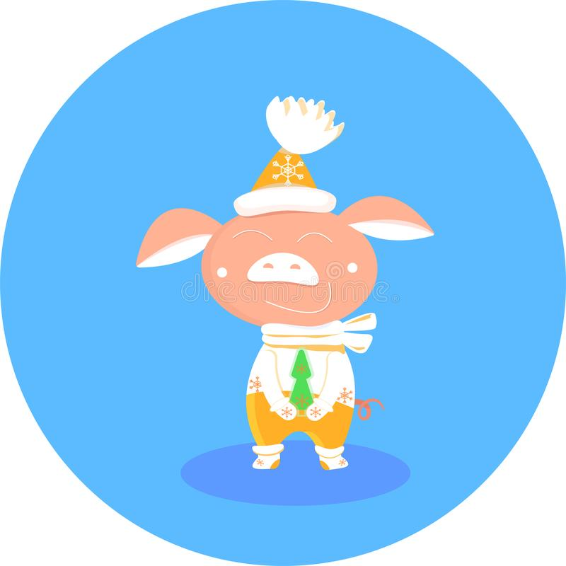 Christmas pig in yellow and white mittens, scarf, hat pom-pon on round blue background. vector Symbol of Chinese New vector illustration