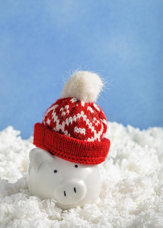 Christmas piggy bank in hat stock image