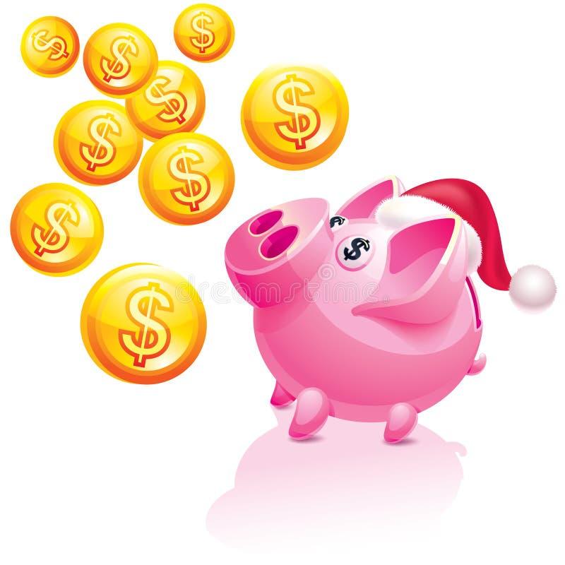 Christmas piggy bank for money rain vector illustration