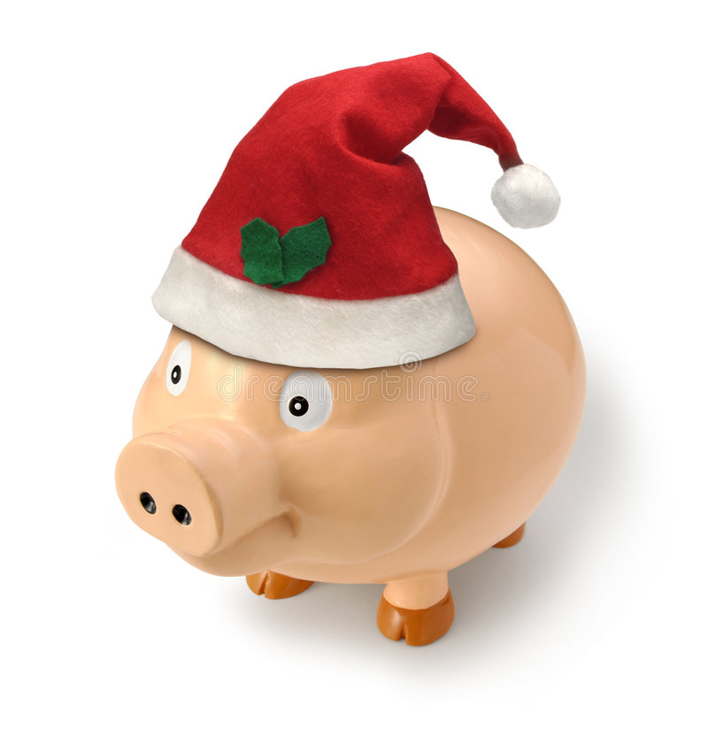 Christmas Piggy Money Santa Gift stock image
