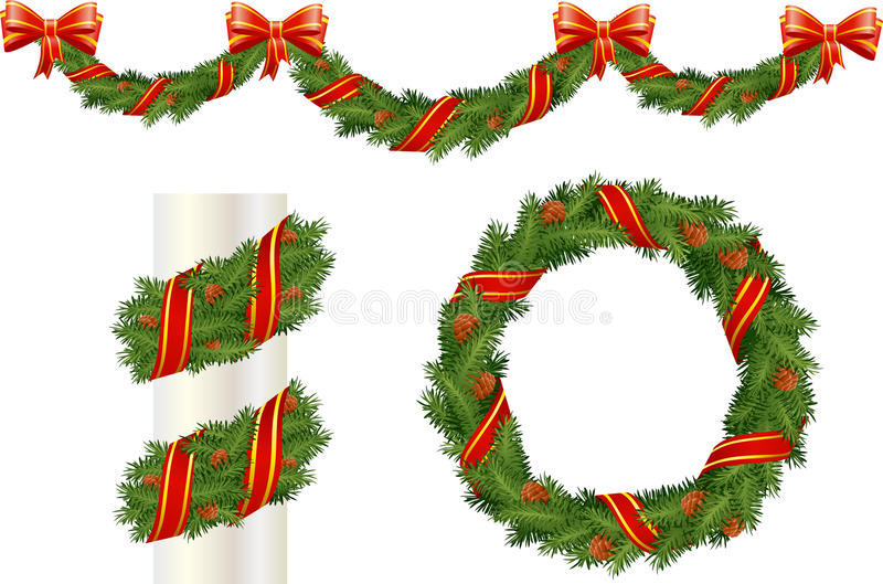 Download Christmas pine decorations stock vector. Image of year - 16939942