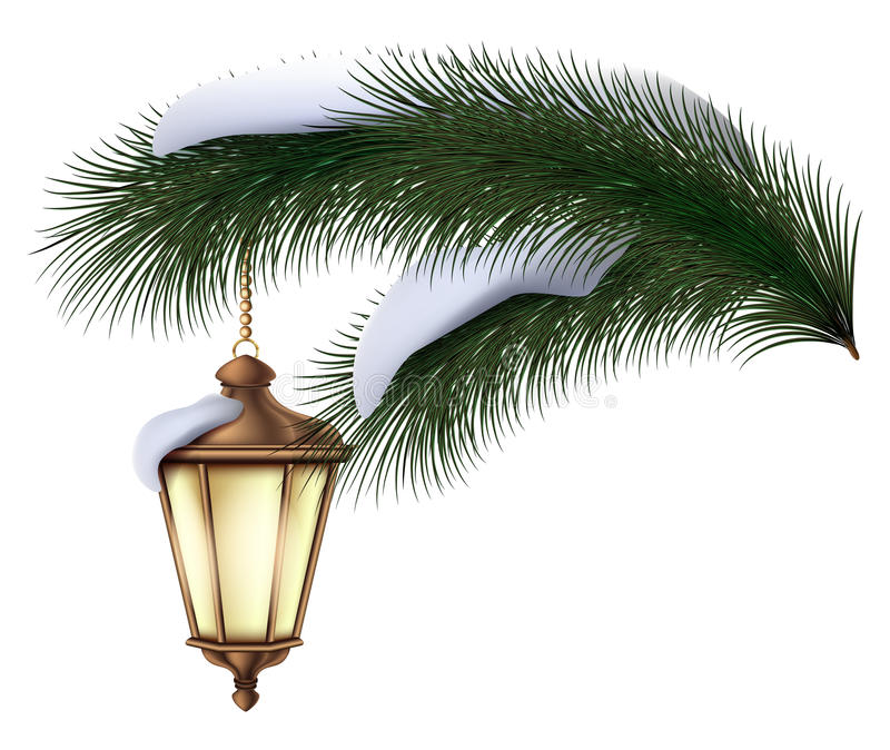 Christmas pine tree branch with silver flashlight and snow vector royalty free illustration