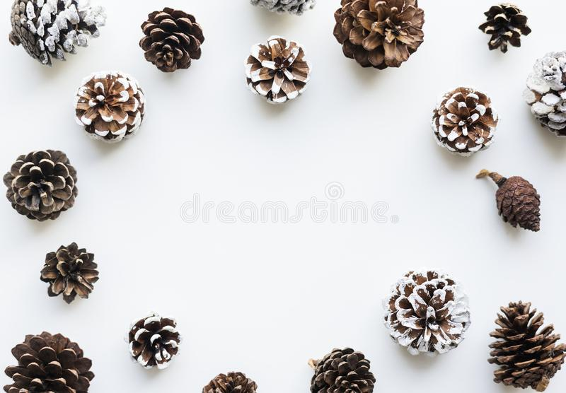 Christmas pinecones design space wallpaper stock photography