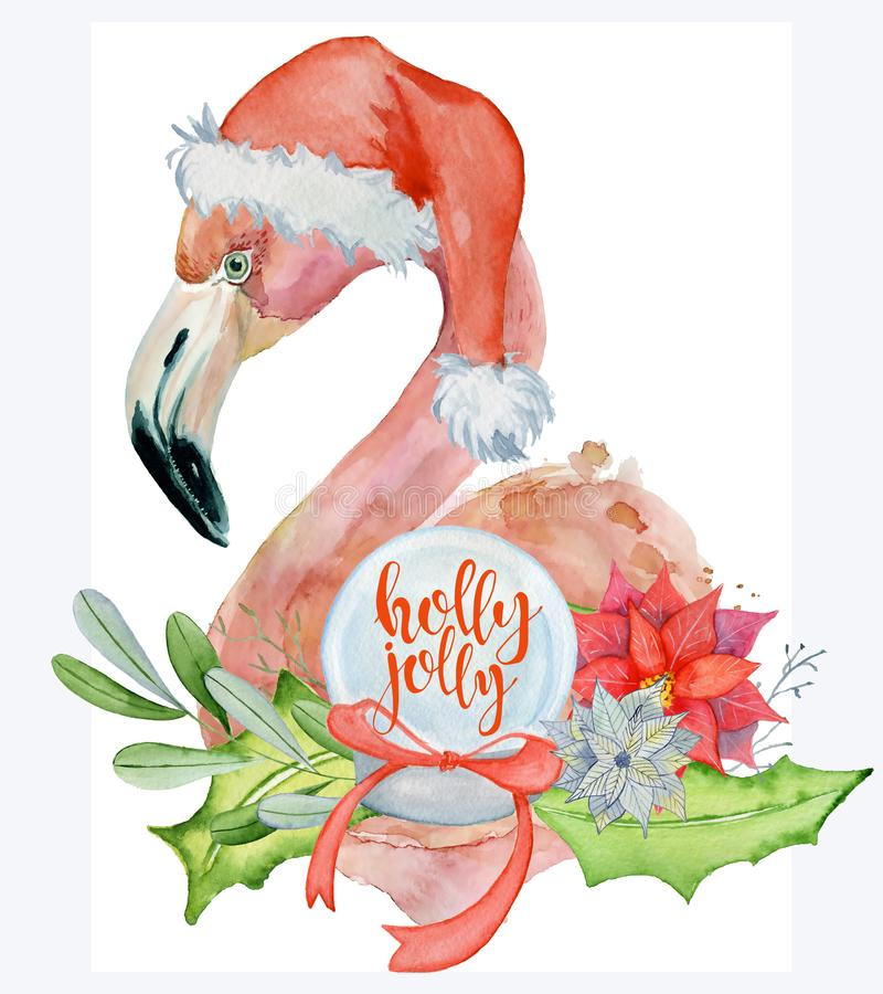 Christmas pink flamingo watercolor illustration with floral bouquet and quote holly jolly vector illustration