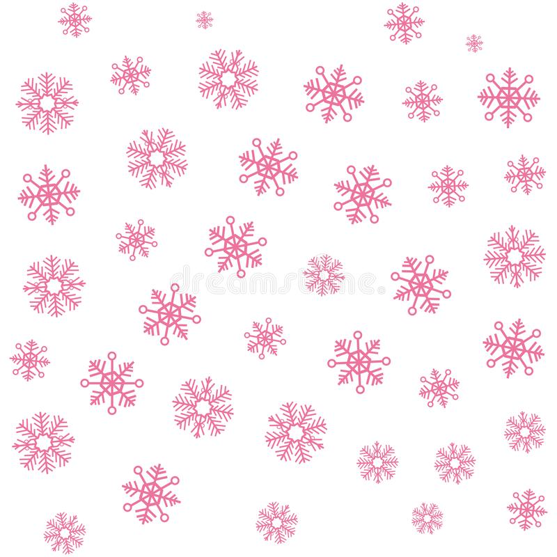 Christmas pink snowflake winter background vector illustration