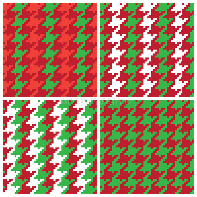 Christmas Pixel Houndstooth Patterns stock illustration