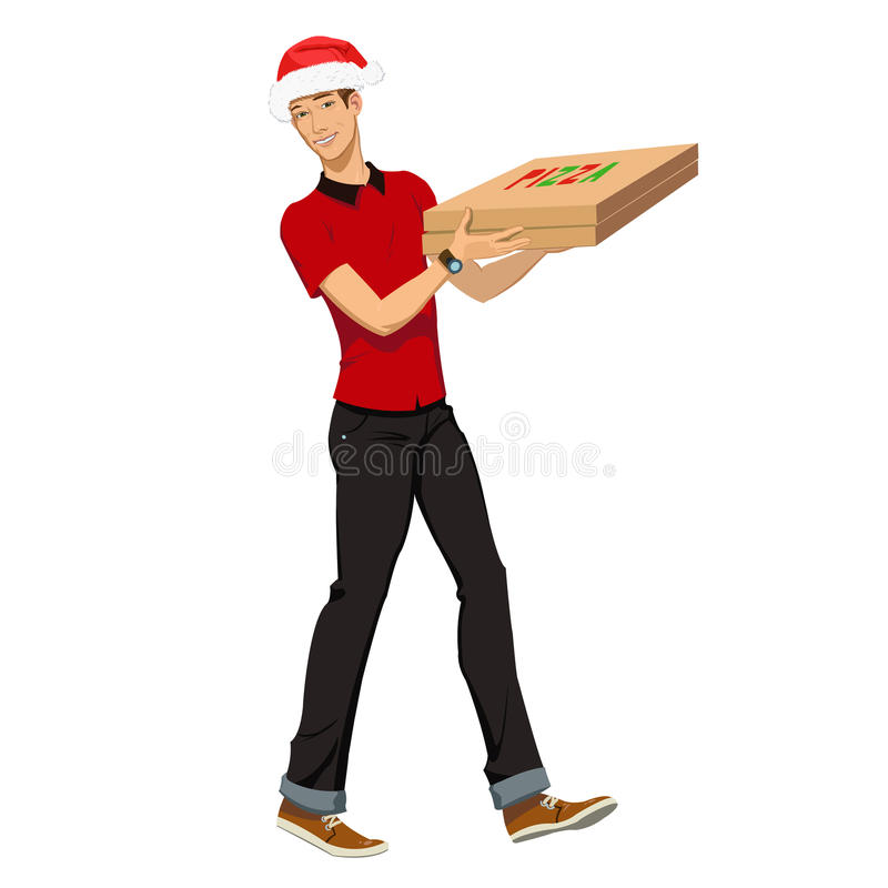 Christmas pizza delivery. Guy in the Christmas hat was the pizza guy vector illustration